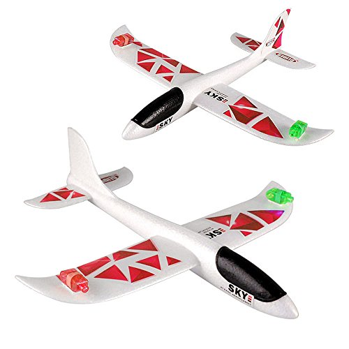 Baby Spielzeug FORH Kinder Flugzeug Spielzeug Outdoor Wurf Segelflugzeug Glider Interessant LED Schaum Werfen Flugzeuge Nachtflugzeug Hand starten Flugzeugmodell Outdoor Sport Spielzeug Fun DIY Geschenk (C)