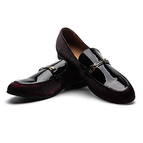 Scarpe da uomo in pelle con motivo stampato scarpe da uomo con mocassino slip-on pantofola per fumatori fannullone casual...