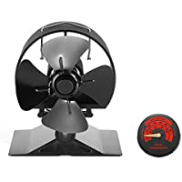 Newest 2020 Model Stove Fan |Small Size Log Burners Fans|Made with Anodized Aluminum |Circular Thickened Baffle Protection Motor Design | Wood Stove Fan for Wood/Multi Fuel Burner/Fireplace