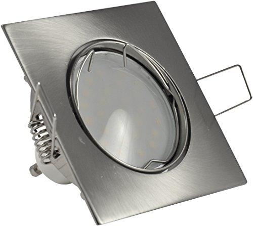 Encastrable Carré en acier inoxydable brossé avec GU10 230 V ampoule LED 8 W Spot | Spot à Encastrer encastrable Kit complet