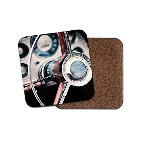 Preisvergleich Produktbild Vintage Auto Lenkrad Untersetzer - Retro Driving Racing Herren Cool Geschenk 12390