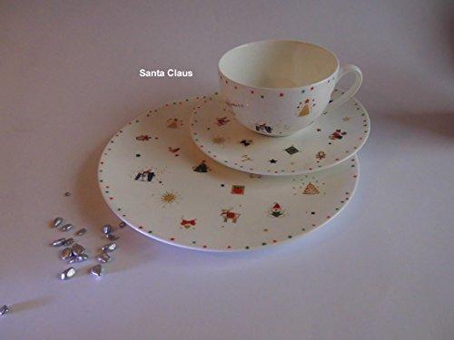 Dibbern FBC Santa Claus Weihnachtsgeschirr Gedeck = 1 Kaffee-/Punschtasse mit Teller flach 21 cm