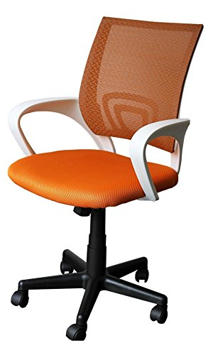 212026 Bürostuhl Schreibtischstuhl Drehstuhl Designer Bürodrehstuhl orange/weiß