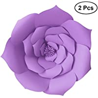 LUOEM 2pcs flor de papel hecha a mano de la cartulina para los contextos de la