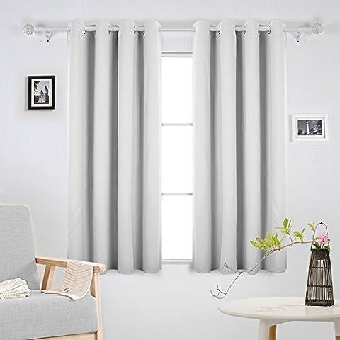 Deconovo Verdunkelungsgardine mit Ösen Gardinen Wohnzimmer Vorhang Blickdicht 175x140 cm Grau Weiß 2er set