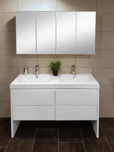 #SAM® 2tlg. Montagsbad Badmöbel-Set, 120 cm, 2. Wahl Designer-Badset mit Doppel-Waschplatz mit Softclose-Funktion, in weiß mit vierteiligem Spiegelschrank [521064]#