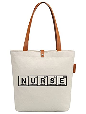 So'each Women's Nurse Letters Graphic Top Handle Canvas Tote Shoulder