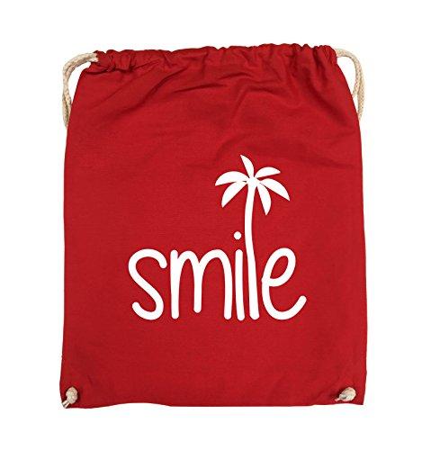 Borse Comiche - Smile - Palm - Turnbeutel - 37x46cm - Colore: Nero / Rosa Rosso / Bianco