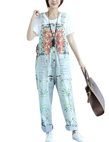 Youlee Damen Jahrgang Denim Latzhose Hosenträger Hosen Style 5 Hellblau