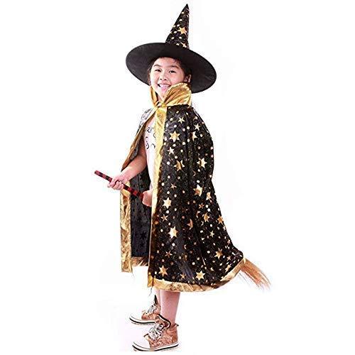 Anzmtos Disfraces De Halloween Bruja Mago Capa con Capa Y Sombrero Sombrero Mago Ni?O Ni?Os Cosplay Traje De Vestido Peque?Os Los Ni?Os Chicos/Chicas (Negro)