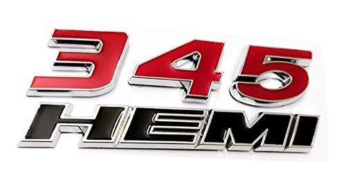 345 HEMI 345HEMI Emblem, ABS-Aufkleber, 3D-Logo, Ersatz für Dodge Challenger Chrysle 300c, Rot/Schwarz (Dodge 2014 Challenger Emblem)