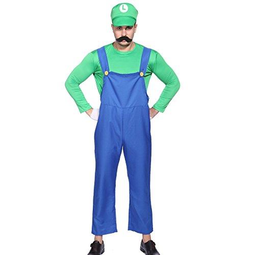 SurePromise One Stop Solution for Sourcing 80s Herren Super Mario Luigi Klempner Bros und Video Spiel Kostüm M L XL (Mario Bros Kostüme Uk)