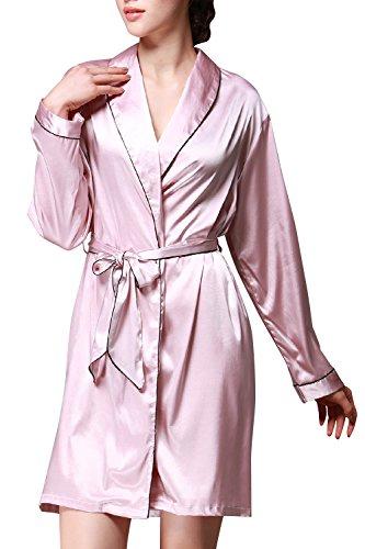 Dolamen Damen Morgenmantel Bademantel Kimono, glatte Satin Nachtwäsche Bademantel Robe, Luxus & weich Kimono Negligee Seidenrobe locker Schlafanzug Rosa