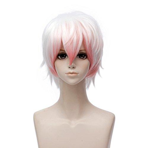 Personen 8 Kostüme Für Halloween (Cosplay Anime Perücke Weiß mit Rosa Mufly Synthetisches Kunsthaar Kurz Glatt Perücke mit Pony Cosplay Kostüm Karneval Anime Manga)