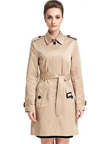 Camii Mia Damen Mantel Long Trenchcoat mit Gürtel Slim Fit Übergangsmantel mit Einreiher (Small, Khaki) - Einreiher Mit Gürtel