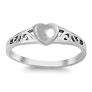 Baby-Ring mit Herz von Precious Pieces, für Mädchen, aus Sterlingsilber, 2mm breit.