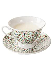 West5Products Shabby Vintage Regency Chic Green Floral Tea Cup & Saucer Candle