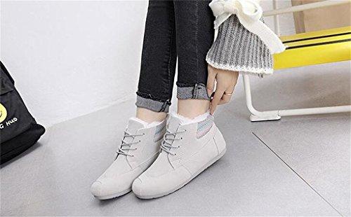 ALUK- Chaussures Hiver Bottes de neige coréenne étudiant Flat Bottes Casual ( couleur : Gray , taille : 37 ) Gray