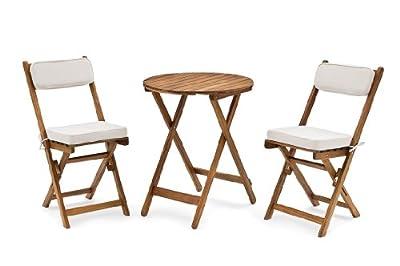 Belardo Balkon-Set Minoa, Braun, Stuhl: 38 x 54 x 82 cm Tisch:, Ø 60 x 72 cm