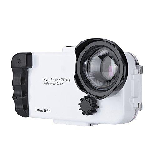 Fosa 195ft Tauchen Fall 60meter Weitwinkelobjektiv Nehmen Sie Fotos Rekord Videos Unterwassergehäuse Schutzhülle für iPhone 7/7P(Weiß7P)