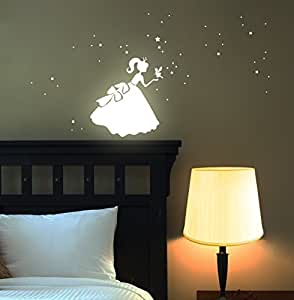 wandtattoo prinzessin cinderella fluoreszierend leucht. Black Bedroom Furniture Sets. Home Design Ideas