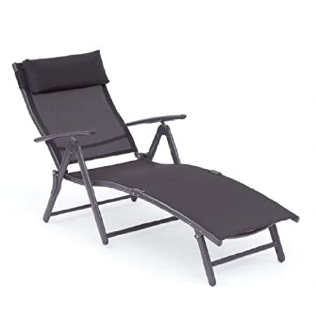 Havana Sunlounger Black Textilene Garden Patio Chair