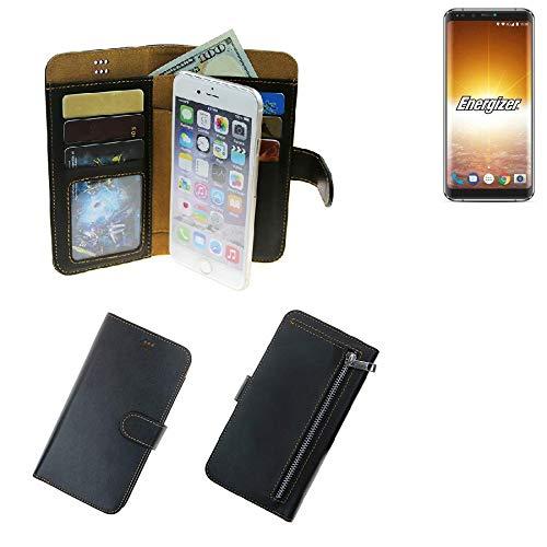 K-S-Trade® Für Energizer P600S Schutz Hülle Portemonnaie Case Phone Cover Slim Klapphülle Handytasche Schutzhülle Handyhülle Schwarz Aus Kunstleder (1 STK)