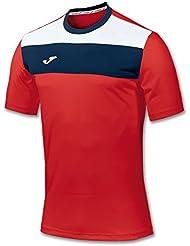 Joma Crew - Camiseta de manga corta para hombre, color rojo, talla L