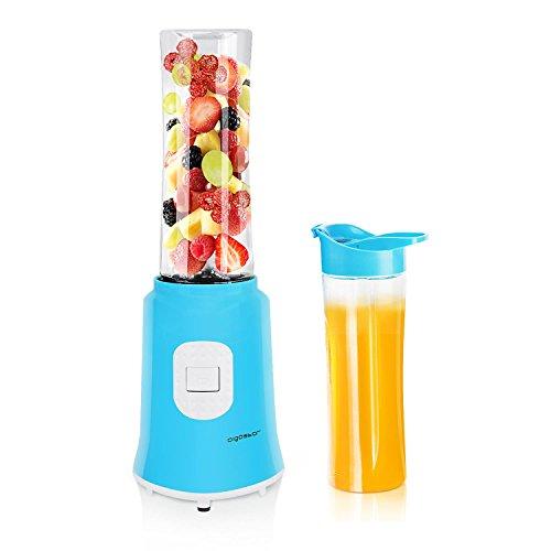 Aigostar Sky 30IWX - Batidora de vaso portátil para smoothies, batidos y picadora de frutas. Potencia 350W, Incluye 2 vasos portátiles de Tritan de 600 ml de capacidad y 2 tapas. Color azul. Libre de BPA. Diseño exclusivo.