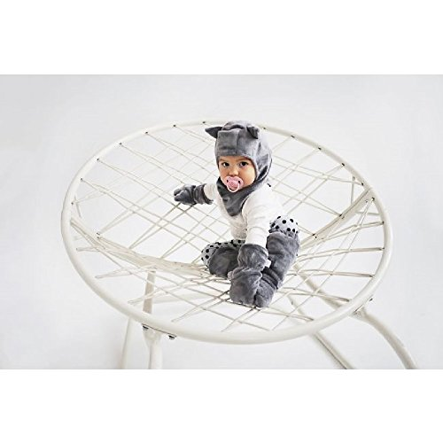 MayLily® Premium | SUPERCAT BALACLAVA CAGOULE Chapeau d'hiver Mignon et Chaud pour Super Bébé Enfant | 4-5 ani | 100% Bambou / Minky | Antiallergique | Fabriqué en UE | LOVE Gris