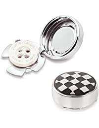 Black & Silver Check Button Covers - The Only Cufflinks For Shirts With Buttons (SQ-03 US)