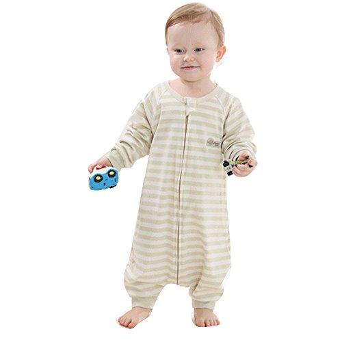baby schlafanzug dünner schlafsack sommer Pyjamas neugeboren Baumwolle Frühling schlafanzug Overalls Ungefüttert Dünn strampler gestreift-1 tog. (Grün, M:70CM)