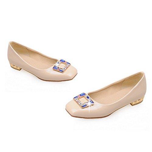 AllhqFashion Damen Ziehen Auf Quadratisch Zehe Niedriger Absatz Pu Pumps Schuhe Cremefarben