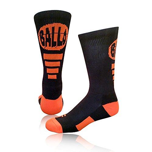 Schoolin 'U Socken Athletic Basketball Crew Socken, Balla(Black/Orange) (Elite Basketball Socks Youth)