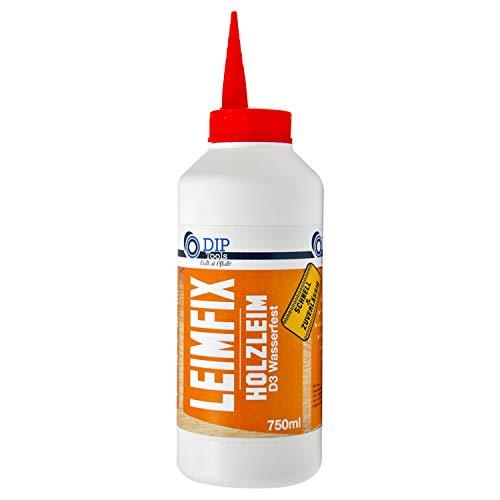 DIP-Tools LEIMFIX Holzleim mit schneller und maximaler Klebekraft - Geruchsarmer und wasserfester Leim in D3 Qualität aus der Komfortflasche - transparent nach Trocknung (750ml)