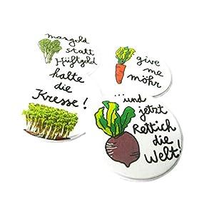 Gemüse Quartett, 4-er Set Buttons oder Magnete, 38mm