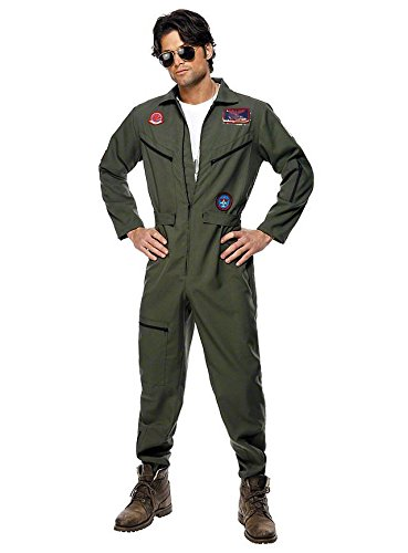 Pilotenkostüm Top Gun - Original Paramount Lizenz Kostüm - Kampfjet Pilot - Karneval Fasching (Kostüm Top Iceman Gun)