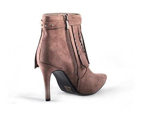 Damen Schuhe Winter warm gefütterte Ankle Boots Cowboy Boots Pumps Stiefel Stiefeletten Spitze mit Fransen und Glitzer Strass Khaki