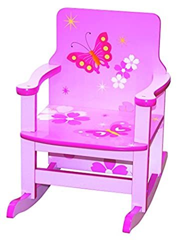 Pour enfant Papillon Rose En Bois Fauteuil à bascule