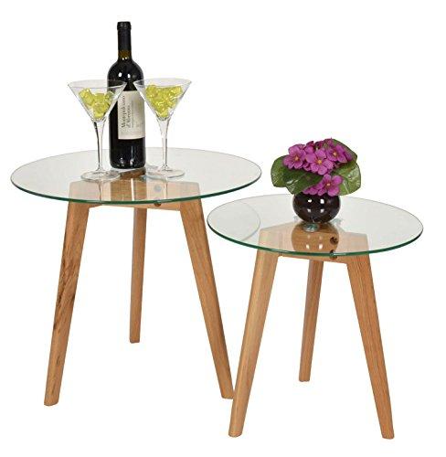 Ts Ideen 2er Set Design Glas Beistelltische Rund Holz Eiche