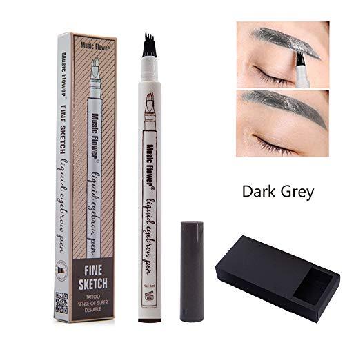 Krstay Augenbrauenstift 3 Farben Wasserdichte Tattoo Augenbrauen Wischfester Eyebrow Pencil mit 4...