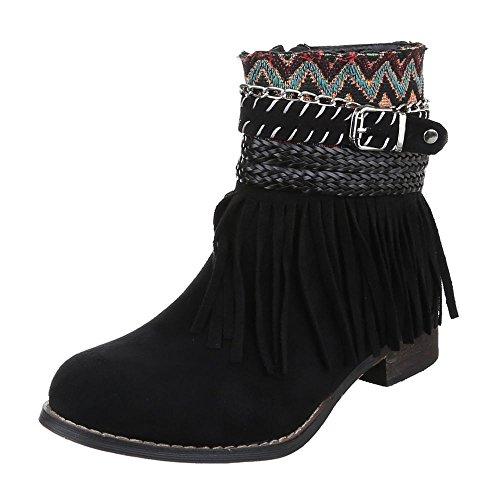 Damen Schuhe, LL51, STIEFELETTEN BOOTS MIT FRANSEN Schwarz