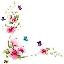 CY-buity Adhesivo de pared reutilizable con diseño de flores y mariposas, decoración del hogar, 64 x 62 cm