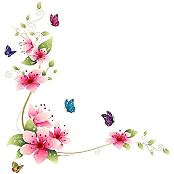 Wall Stickers Decal Vinyl Kid Art Pink Flower Butterflies Pattern Home  Mural Decor 64*62Cm Part 80