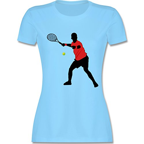 Tennis - Tennis Vorhand - tailliertes Premium T-Shirt mit Rundhalsausschnitt für Damen Hellblau