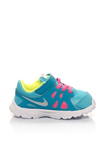 Nike - Revolution 2 Tdv, Scarpe da ginnastica Bimbo 0-24 Multicolore (Plateado / Azul / Verde (Clrwtr / Mtllc Slvr-Bl Lgn-Vlt))