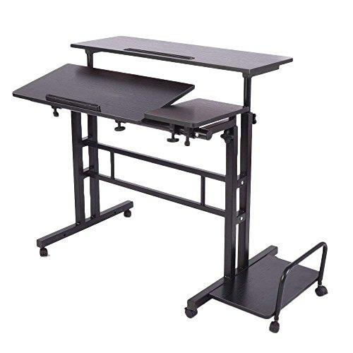LaCyan Schreibtisch, verstellbare Höhe, für Computer/Laptop mit Brett für die Maus With CPU Holder Schwarz  -