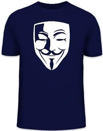 Shirtstreet24, ANONYMOUS MASKE, Guy Fawkes Vendetta T-Shirt , Größe: S, dunkelblau