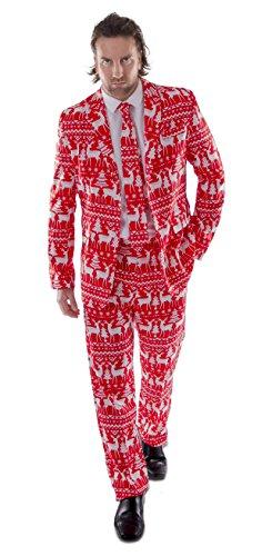 Christmas Pattern in Red Designer Stag Suit (Men: Large)