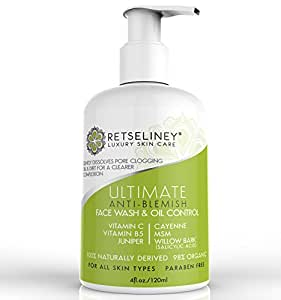 Retseliney Best Acne Face Wash & Oil Control, Acne Treatment for Face with 2% Salicylic Acid, for Teens, Adult & Hormonal Acne, Clear Blemishes & Acne Scars, Organic Facial Cleanser for Men & Women